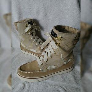 Sperry High Tops Gold & Tan Camo sneaker sz 6